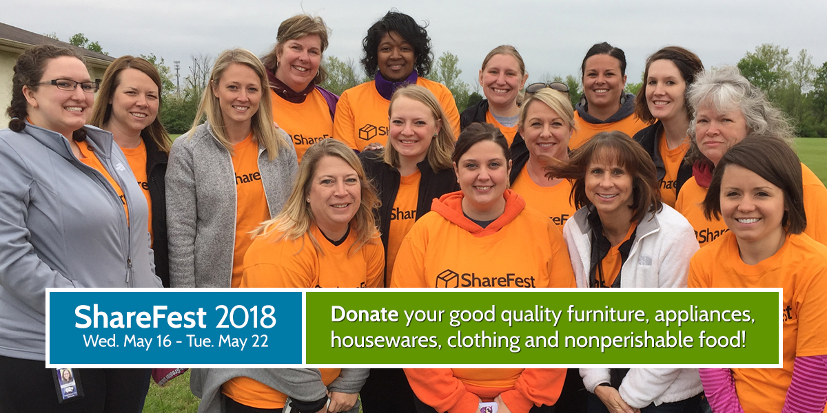 ShareFest 2018: Donate your good quality furniture, appliances, housewares, clothing and nonperishable food!